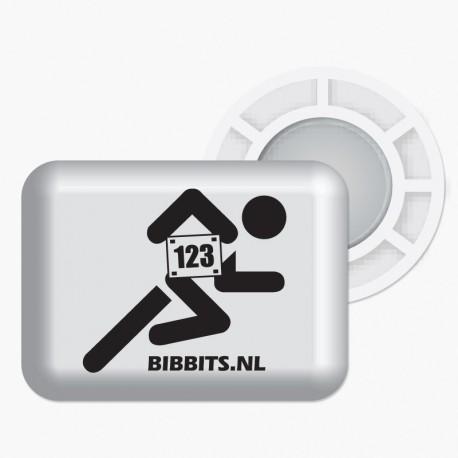 Magnesy BibBits - biegacz / biały