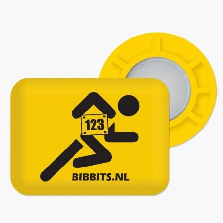 Magnesy BibBits - biegacz / żółty